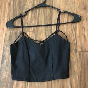 Fake leather crop top